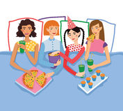Slumber Party With Four Cute Girls Friends Vector Illustration. Ginger, Brunette, Blond And Brown Haired Girlfriends Royalty Free Stock Images