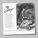 Slumbering dragon. Hand drawn llustration Stock Photos