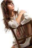 Slumberous girl in white wool Stock Photo