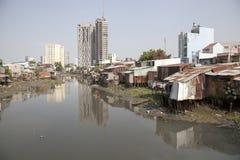 Slumm at Saigon river channel Royalty Free Stock Photo