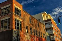 Slumpmässig byggnad i Asheville, North Carolina, USA Arkivfoto