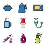 Slumpmässig köksgeråd för design för materialsymbolsvektor, toalett, medicinsk sats, järnkläder, flasksprej royaltyfri illustrationer