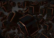 Slumpmässig kubikaffärsbakgrund för science fiction Arkivbild