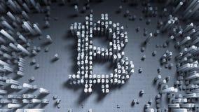 Slumpmässig rörelse för abstrakta nummer i form av myntbitcoin Arkivfoto