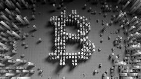 Slumpmässig rörelse för abstrakta nummer i form av myntbitcoin Arkivbild