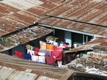 Slums in Africa. During the rain. Photo taken in Arusha, Tanzania in March 2010 Royalty Free Stock Photo