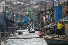 The slums of Belen village in Iquitos. Peru in the Amazon rainforest royalty free stock photo