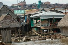 The slums of Belen village in Iquitos. Peru in the Amazon rainforest stock photography
