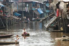 The slums of Belen village in Iquitos. Peru in the Amazon rainforest stock photo