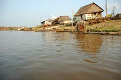 The slums of Belen village in Iquitos. Peru in the Amazon rainforest royalty free stock image
