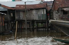 The slums of Belen village in Iquitos. Peru in the Amazon rainforest royalty free stock images
