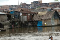 The slums of Belen village in Iquitos. Peru in the Amazon rainforest stock image