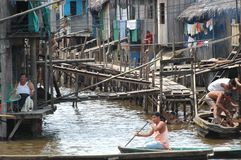 The slums of Belen village in Iquitos royalty free stock image