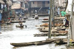 The slums of Belen village in Iquitos. The slums of Belen village in Iquitos, Peru in the Amazon rainforest stock photo