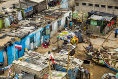 Slums in Cape Coast. Cape Coast, Ghana, West Africa - July 31, 2014: View of slums in the centre of the town at the Atlantic Ocean shore. There are several Stock Images