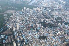 Mangroves, slums and highrises in Mumbai. Slums and highrises in a suburb of Mumbai near the mangroves Royalty Free Stock Image