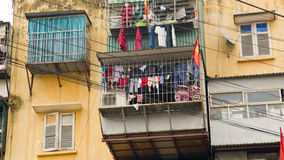 Slums with messy electric cables, Hanoi, Vietnam Royalty Free Stock Image