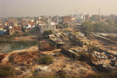 Slums of New Delhi seen from Tughlaqabad Fort Stock Photo