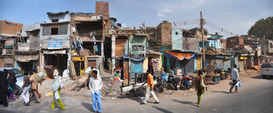 The Slums of Old Delhi Panorama, India royalty free stock images
