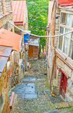 The slums of Tbilisi. The historic Kldisubani neighborhood located on the hilly area, nowadays it`s full of slums and abandoned houses and waits for restoration Royalty Free Stock Images