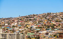 Slums of Valparaíso with a blue sky background. Space for text Royalty Free Stock Photo