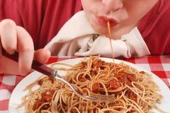 Slurping pasta Stock Image