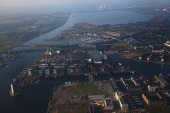 Sluseholmen, Kopenhagen, luchtmening Stock Foto's
