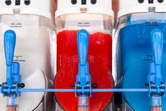 Slush Machines. Row of slush machines. Red, white, and blue Stock Image