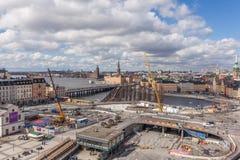Slussen建设中 免版税库存照片