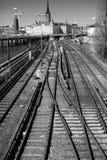 Slussen. Railway tracks in stockholm capital of sweden Royalty Free Stock Image