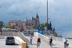 Slussen in Stockholm, Zweden royalty-vrije stock afbeelding