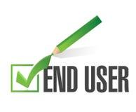 slut - användarecheckmarkgodkännande stock illustrationer