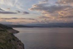 Slut av dagen på havet Fotografering för Bildbyråer