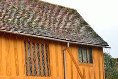 Slut av det orange halva timrade huset Royaltyfria Foton