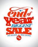 Slut av det största försäljningsbanret för år royaltyfri illustrationer
