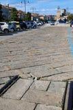 Slut av drevspåren på Trieste strand, Italien Royaltyfri Fotografi