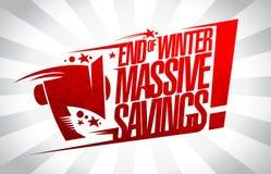 Slut av för besparingförsäljning för vinter det massiva banret royaltyfri illustrationer