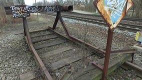 Slut av järnvägsspåret lager videofilmer