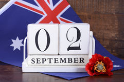 Slut av kalenderdatumet för WWII 2 September 1945 Arkivfoton