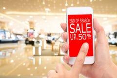 Slut av konsumenten Shopp för rabatt för säsongSale upp till 50% befordran Arkivbilder