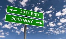 Slut av 2017 och start av 2018 Arkivbild