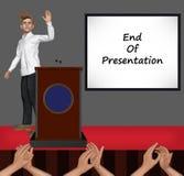 Slut av presentationsglidbanaillustrationen Arkivfoto