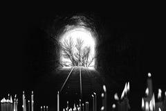 Slut av tunnelen, järnväg träd, med stearinljusfotografi arkivfoto