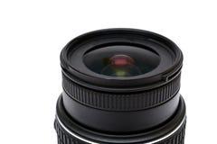 Slut för Digital SLR kameralins upp på vit Royaltyfria Bilder