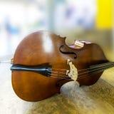 Slut för instrument för musik för kontrabas för basfiolspelare upp Royaltyfri Foto