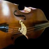 Slut för instrument för musik för kontrabas för basfiolspelare upp Arkivbild