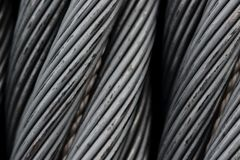 Slut för kabel för ståltrådrep upp Arkivbild