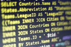 Slut för kod för PHP för rengöringsdukbärare upp Makroskott av den invecklade SQL-frågan till databas Arkivbild