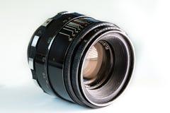 Slut för lins för tappningfotokamera som isoleras upp på vit bakgrund Arkivfoto