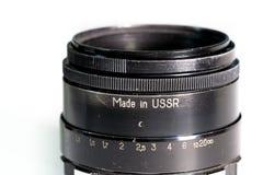 Slut för lins för tappningfotokamera upp med gjort i ussr text Royaltyfri Fotografi